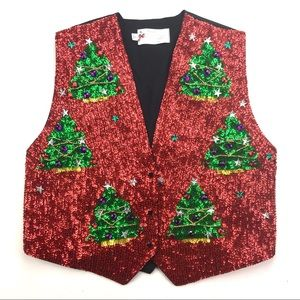 Tops - Ugly Christmas Sparkly All Over Sequin Vest